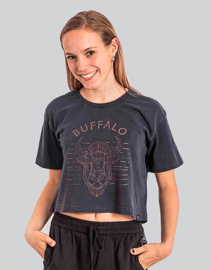 Polera Manga Corta Buffalo Grafito Mujer